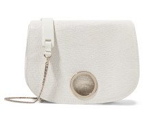 Snake-effect Leather Shoulder Bag Elfenbein