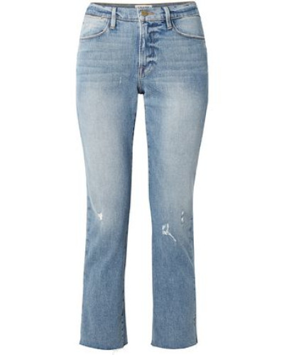 Cropped Distressed High-rise Straight-leg Jeans Mid Denim  4