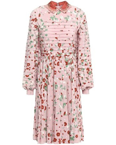 Woman Embellished Pintucked Pleated Floral-print Silk Crepe De Chine Dress Baby Pink