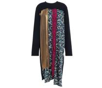 Kleid aus Baumwollfrottee mit Floralem Print und Metallic-effekt in Patchwork-optik