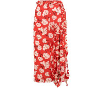 Ruffled floral-print silk midi skirt