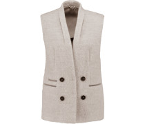Embellished Alpaca And Wool-blend Vest Taupe