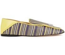 Sr1 Verzierte Loafers aus Webstoff und Leder in Metallic-optik mit Einklappbarer Fersenpartie