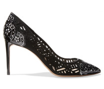 Angie Laser-cut Patent-leather And Suede Pumps Schwarz