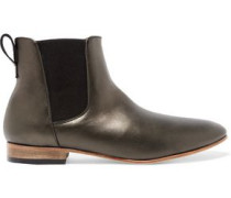 Troy metallic leather ankle boots