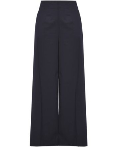 Woman Cotton-blend Twill Wide-leg Pants Navy