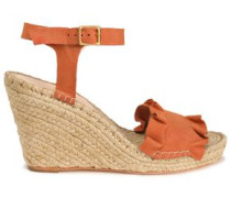 Ruffled suede espadrille wedge sandals