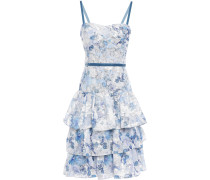 Tiered Velvet-trimmed Fil Coupé Organza Dress