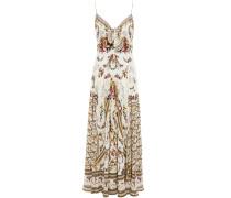 Tie-front Printed Silk Crepe De Chine Maxi Dress