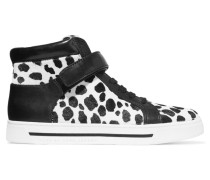 Leather And Printed Calf Hair Sneakers Weiß