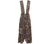Asymmetric Zebra-print Silk-chiffon Dress