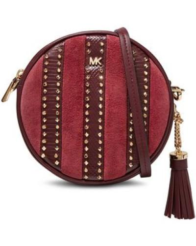 Woman Studded Paneled Leather And Suede Shoulder Bag Claret