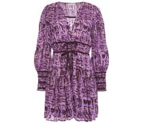 Bow-detailed Printed Cotton-gauze Mini Dress