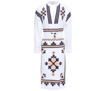 Anika Belted Embroidered Cotton-poplin Dress White