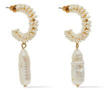 Vergoldete Ohrringe mit Kunstperlen