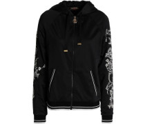 Embroidered shell hooded jacket