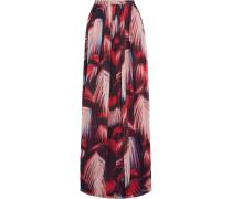 Printed Silk-chiffon Maxi Skirt Rot