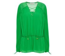 Woman Chiffon-paneled Ruffle-trimmed Gathered Georgette Blouse Green