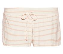 Striped Stretch-jersey Pajama Shorts Ecru