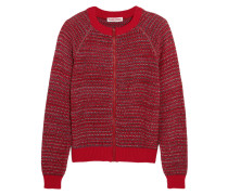 Knitted Cotton-blend Cardigan Rot