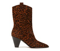 Leopard-print Suede Ankle Boots