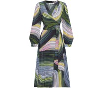 Natalie Printed Silk Crepe De Chine Midi Wrap Dress