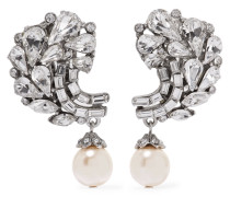 Silver-plated Crystal And Faux Pearl Clip Earrings Silber