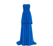Cutout Ruched Silk-georgette Gown