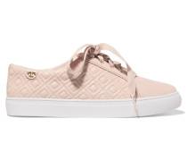 Marion Quilted Leather Sneakers Puder