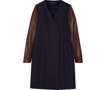 Quennel Convertible Leather-paneled Stretch Wool-blend Coat Mitternachtsblau