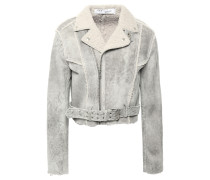 Synal Cropped Suede-effect Shearling Biker Jacket