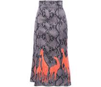 Printed Satin Midi Skirt