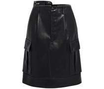 Zip-detailed Pleated Leather Skirt