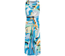 Printed Pleated Crepe De Chine-paneled Ruched Jersey Dress