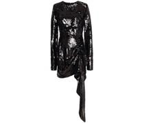 Gerafftes Minikleid aus Mesh mit Pailletten und Drapierung