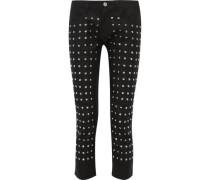 Studded wool straight-leg pants