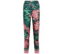 Etere Velvet-trimmed Printed Silk-satin Twill Straight-leg Pants