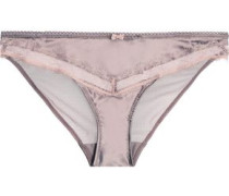 Low-rise tulle-paneled lace-trimmed satin briefs
