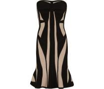 Strapless Two-tone Bandage Dress Beige