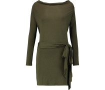 Draped Modal-jersey Mini Dress Armeegrün