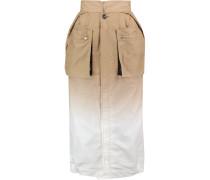 Layered Cutout Dégradé Cotton-blend Midi Skirt Beige