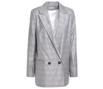 Double-breasted Checked Silk And Wool-blend Blazer