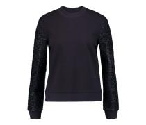 Tinsel-paneled Jersey Sweatshirt Mitternachtsblau