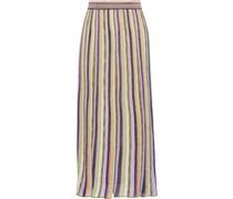 Pleated Metallic Striped Knitted Midi Skirt