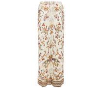 Olympe Ode Crystal-embellished Printed Jersey Wide-leg Pants