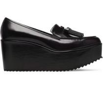 Tasseled leather platform loafers