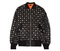 Leather-trimmed eyelet-embellished shell bomber jacket