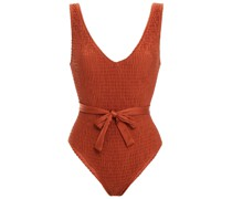 The Michelle Tie Belted Smocked Swimsuit