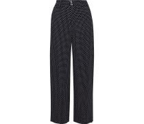 Woman Cropped Polka-dot Cady Wide-leg Pants Midnight Blue