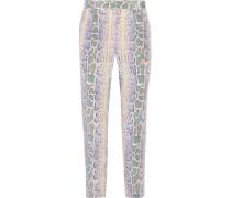 Soren Snake-print Washed-silk Tapered Pants Blau